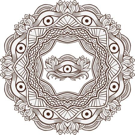 ojos negros: mehendi henna Mandala con el ojo de la providencia interior. ilustración del vector. elemento de invitación. Tatuaje, la astrología, la alquimia, la magia y el símbolo boho.