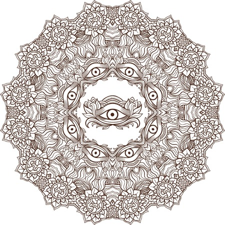 eye of providence: Mandala henna mehendi with the eye of providence inside. Isolated Vector illustration. Invitation element. Tattoo, astrology, alchemy, boho and magic symbol.