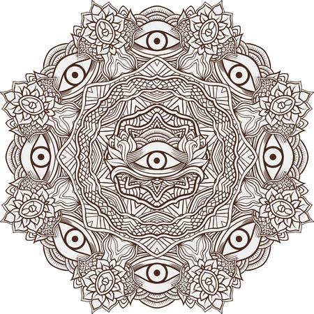 eye of providence: Mandala henna mehendi with the eye of providence inside. Isolated Vector illustration. Invitation element. Tattoo, astrology, alchemy, boho and magic symbol.