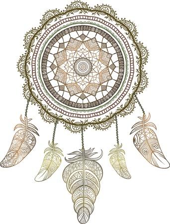 Dibujado A Mano Nativo Atrapasueños Talismán Indio Americano. Vector ...