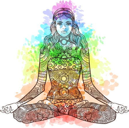 Woman sitting in yoga lotus pose with Tattoo mehendi zentangle ornamental vintage pattern. Meditation, aura and chakras. Vector illustration. Coloring for adult. Watercolor texture