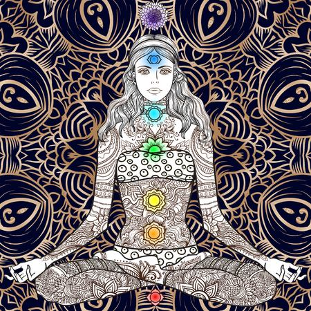 tantra: Woman sitting in yoga lotus pose with Tattoo mehendi zentangle ornamental vintage pattern. Meditation, aura and chakras. Vector illustration. Coloring for adult