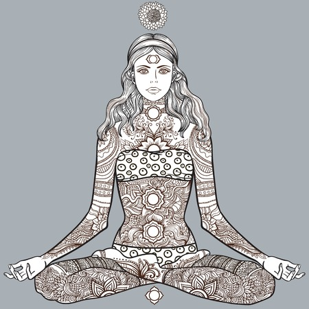Woman sitting in yoga lotus pose with Tattoo mehendi zentangle ornamental vintage pattern. Meditation, aura and chakras. Vector illustration. Coloring for adult