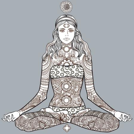 Vrouw zitten in yoga lotus houding met Tattoo mehendi zentangle sier vintage patroon. Meditatie, aura en chakra's. Vector illustratie. Kleurplaten voor volwassenen