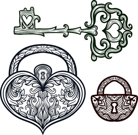 forged: Elegant vintage keys and lock. Ornamental forged elements with curlicues. Hand drawing vector. Medieval, history, embellishment, t-shirt print or pendant design usage, coloring book, zentangle style. Illustration