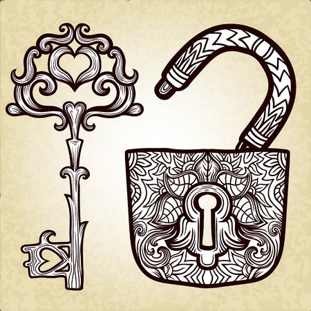 curlicues: Elegant vintage keys and lock. Ornamental forged elements with curlicues. Hand drawing vector. Medieval, history, embellishment, t-shirt print or pendant design usage, coloring book, zentangle style. Illustration