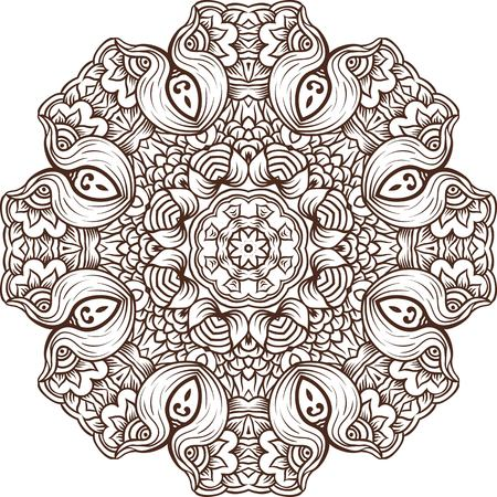 Mandala background henna natural colors. Ethnic design boho chic tribal symbol. For adult coloring pages, design invitations