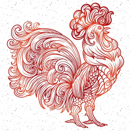 christmass: Vector stylized celebration rooster. New year 2017. Coloring, zentangle art, symbol of the year christmass holiday Illustration