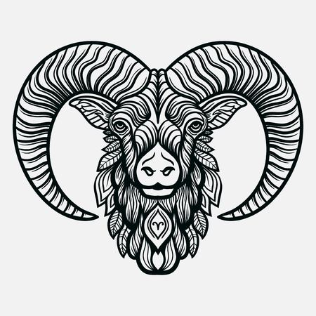 Hand drawn romantic beautiful line art of zodiac aries. Vector illustration isolated. Ethnic design, mystic horoscope symbol for your use. Ideal for tattoo art, coloring books. Zentangle style. Vettoriali