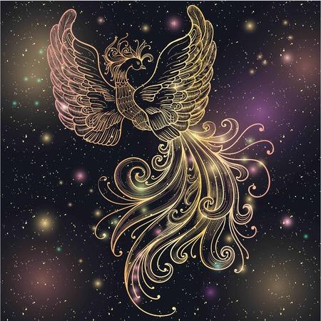 Firebird espacio mágico con las estrellas del clipart del vector resplandor y el brillo del oro. Filigrana adornado. Boho zentangle doodle de dibujos lineales. Adecuado para los tatuajes, el arte corporal, colorantes para adultos y diseño de la vendimia. Ilustración de vector