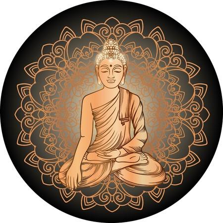 Buddha Gautama mit Vektor-Illustration Gold-Mandala. Jahrgang dekorativen zentangle Handzeichnung. Inder, Buddhismus, Spiritual budda Motive. Malbuch Seiten für Erwachsene. Tattoo doodle Linie Kunst
