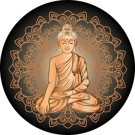 thai buddha: Buddha gautama with gold mandala vector illustration. Vintage decorative zentangle hand drawing. Indian, Buddhism, Spiritual budda motifs. Coloring book pages for adults. Tattoo doodle line art