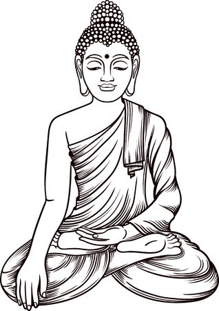 budda: Buddha gautama vector illustration. Vintage decorative zentangle buddha composition. Indian, Buddhism, Spiritual budda motifs. Coloring book pages for adults. Tattoo line art