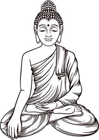 budda: Buddha gautama vector illustration. Vintage decorative zentangle buddha composition. Indian, Buddhism, Spiritual budda motifs. Coloring book pages for adults. Tattoo line art