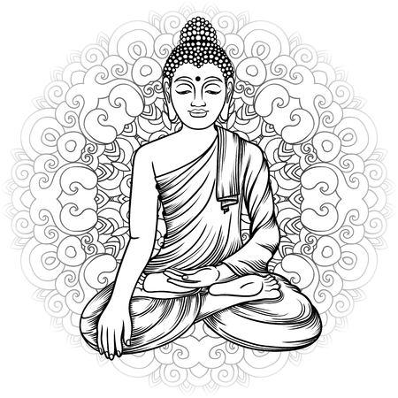thai buddha: Buddha gautama with mandala vector illustration. Vintage decorative zentangle hand drawing. Indian, Buddhism, Spiritual budda motifs. Coloring book pages for adults. Tattoo doodle line art