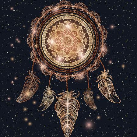 Native American Indian talisman dreamcatcher met magische mandala en veren. Etnische, boho chic, tribale symbool. Voor kleurboek, tattoo, mehendi Vector hipster illustratie gouden glans en glitter.