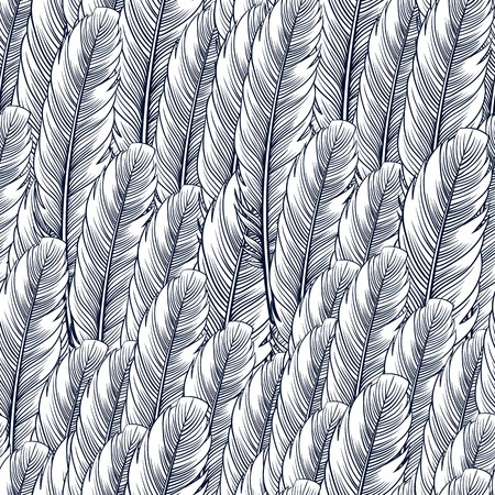 Seamless pattern with hand-drawn feathers. Hippie design elements. Coloring book pages for adults.