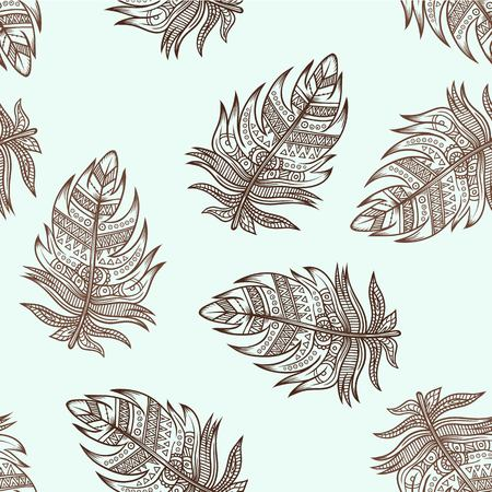 book pages: Seamless pattern of Ornamental Zentangle Boho Style Feathers.. Vector illustration. Tattoo template. Trendy hand drawn tribal symbol background. Hippie design elements. Coloring book pages for adults.