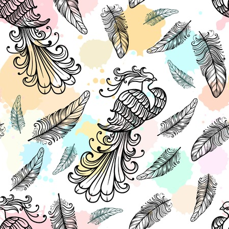 mythical phoenix bird: Firebird vector seamless pattern watercolor texture with feathers. Hand drawn doodle zentangle mythological bird