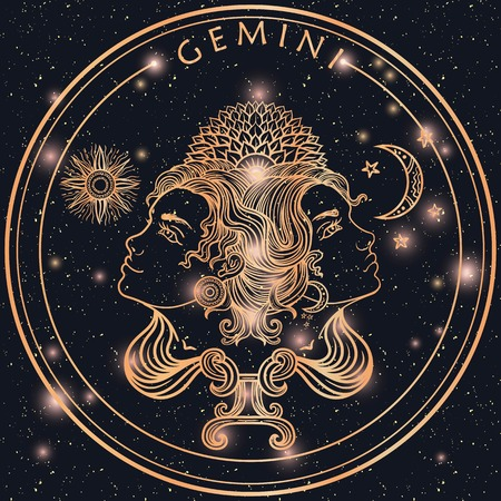 Hand drawn romantic beautiful filigree line art of zodiac gemini. Vector illustration isolated. Ethnic design, mystic horoscope symbol for your use. Ideal for tattoo art, coloring books. Zentangle 일러스트
