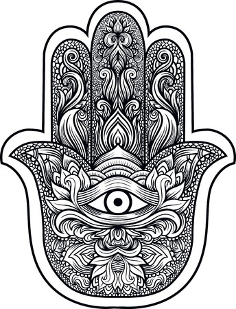 good luck charm: Indian hand Hamsa or hand of Fatima with third eye,good luck charm, hand drawn mehendi zentangle boho chic line art vector illustration. Esoteric spiritual ethnic mascot.Tattoo,coloring,t-shirt design