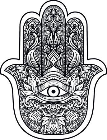 indios de la mano de Hamsa o la mano de Fátima con el tercer ojo, amuleto de buena suerte, mano dibujada mehendi boho zentangle línea elegante arte de la ilustración del vector. Esotérica mascot.Tattoo, coloración, diseño camiseta étnica espiritual