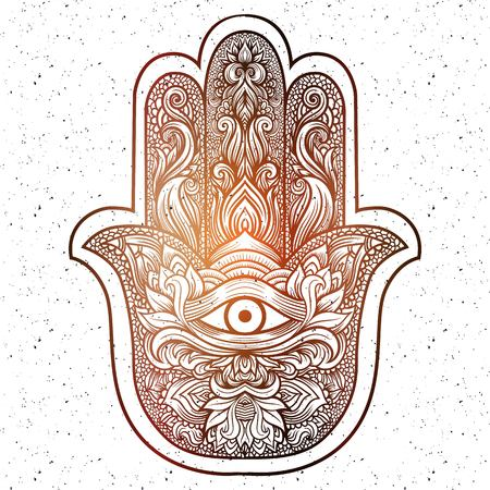 third eye: Indian hand Hamsa or hand of Fatima with third eye,good luck charm, hand drawn mehendi zentangle boho chic line art vector illustration. Esoteric spiritual ethnic mascot.Tattoo,coloring,t-shirt design