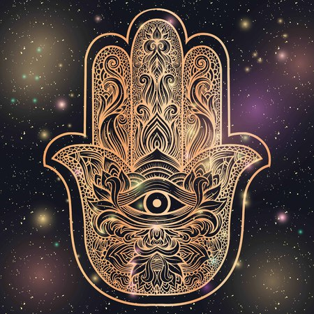 third eye: Indian hand Hamsa or hand of Fatima with third eye,good luck charm, hand drawn mehendi zentangle boho chic line art vector illustration. Esoteric spiritual ethnic mascot.Tattoo,coloring,t-shirt design