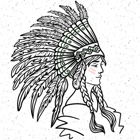 Young girl in Native America tribal feather headdress. War bonnet Boho hipster tattoo zentangle line-art coloring Illustration