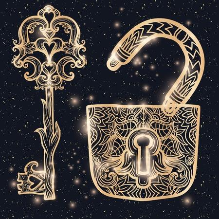 embellishment: Elegant vintage keys and lock. Hand drawing vector. Medieval, history, embellishment, t-shirt print or pendant design usage, coloring book, zentangle style. Ornate gold glow and glitter filigree Illustration