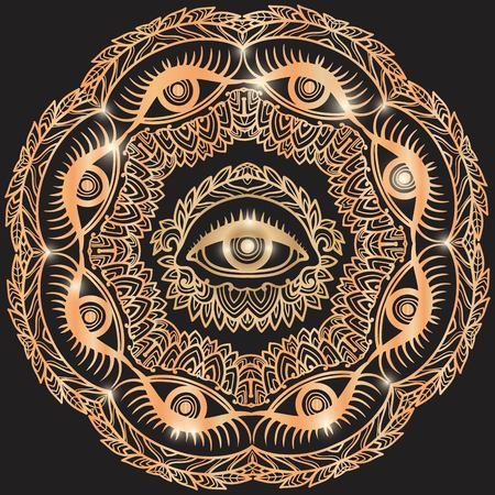 eye of providence: Hand drawn ornate flower in the crown of leaves and sticks with the eye of providence. Isolated Vector illustration. Invitation element. Tattoo, astrology, alchemy, boho and magic symbol. Mandala gold