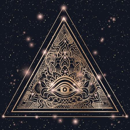 Eye of Providence. Masonic symbol. All seeing eye inside triangle gold glow pyramid. Hand-drawn alchemy, spirituality, occultism. Isolated vector. Mehendi tattoo body art pattern ellements.