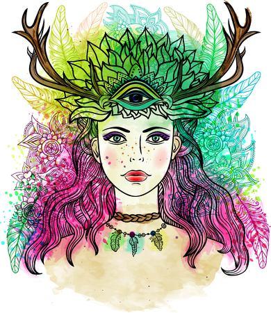 Vrouwelijke sjamaan met derde oog, veren, hoorns. Alchemy, religie, spiritualiteit, occultisme, tattoo lijn zentangle hipster kunst, kleurboeken. Aquarel, krijtpastelkleuren potloden textuur vector