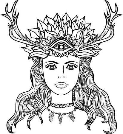 black woman face: Hand drawn beautiful artwork of female shaman with third eye. Alchemy, religion, spirituality, occultism, tattoo line zentangle hipster art, coloring books.Isolated vector illustration.Feathers, horns