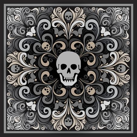 paraphernalia: Russian National flower ornament Khokhloma and skull. Design bandanas, invitations, motorcycle club, rock, metal hipster style. Composition squared. tattoo. vector