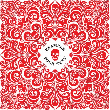 paraphernalia: Russian National flower ornament Khokhloma and skull. Design bandanas, t-shirt, invitations, motorcycle club, rock, metal hipster style. Composition squared, red color. tattoo. vector Illustration