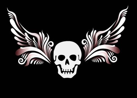 Skull with floral wings. Motor club emblem, design tattoo. Vector Vector Illustration
