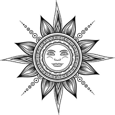 Vintage hand drawn sun eclipse. Mehendi zentangle boho chic line art vector illustration. Esoteric spiritual ethnic mascot. Tattoo,coloring,t-shirt design