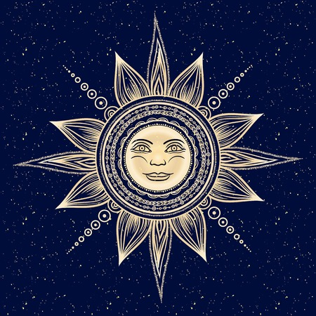 Vintage hand drawn sun eclipse. Mehendi zentangle boho chic line art vector illustration. Esoteric spiritual ethnic mascot. Tattoo,coloring,t-shirt design