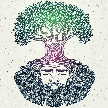 ひげを生やした男。寓話的なツリーの精神。根のひげ。流行に敏感なタトゥー大人、エコ ・ デザイン、t シャツ プリント、着色保護環境です。パタ