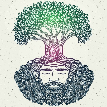 Bearded man. Allegorical tree spirit.Beard of the roots.For hipster tattoo, coloring for adults,eco design,t-shirt print, protect the environment. Pattern, zentangle,line art. Magic, Boho chik, hippie Ilustração Vetorial