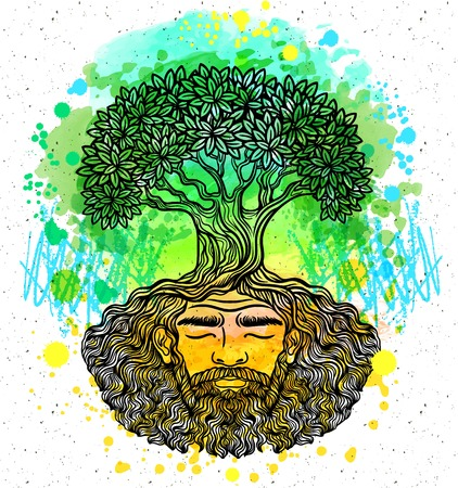 chik: Bearded man. Watercolor texture. Beard of the roots.For hipster tattoo, coloring for adults,eco design t-shirt print, protect the environment. Pattern, zentangle,line art. Magic, Boho chik, hippie