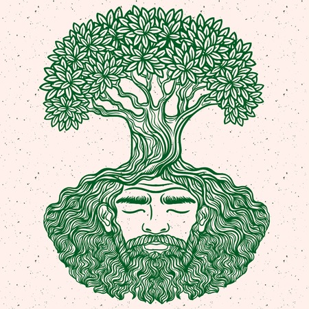 chik: Bearded man. Allegorical tree spirit.Beard of the roots.For hipster tattoo, coloring for adults,eco design,t-shirt print, protect the environment. Pattern, zentangle,line art. Magic, Boho chik, hippie