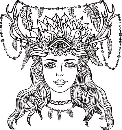Hand drawn beautiful artwork of female shaman with third eye. Alchemy, religion, spirituality, occultism, tattoo line zentangle hipster art, coloring books.Isolated vector illustration.Feathers, horns