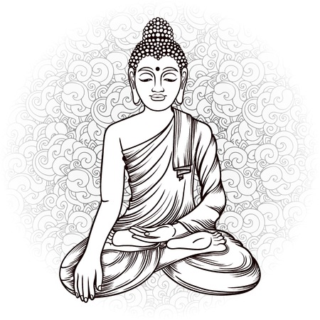 budda: Buddha gautama with doodle background vector illustration. Vintage decorative zentangle hand drawing. Indian, Buddhism, Spiritual budda motifs. Coloring book pages for adults. Tattoo doodle line art