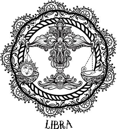 Zodiac Libra stammen, decoratief wol patroon. Vector