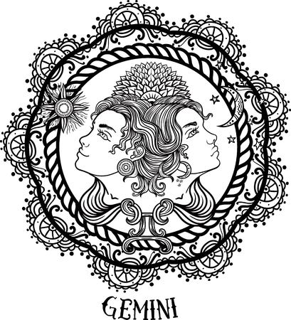 Hand drawn romantic beautiful line art of zodiac gemini. Vector illustration isolated. Ethnic design, mystic horoscope symbol for your use. Ideal for tattoo art, coloring books. Illustration