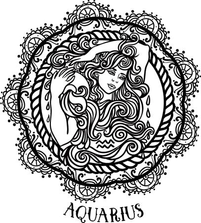 tribal aquarius: Zodiac Aquarius tribal, decorative wool pattern. beautiful woman with jug of water Vector