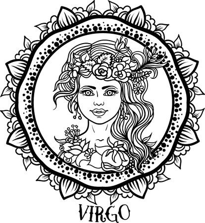 godness: Zodiac Virgo tribal, decorative wool pattern. Vector