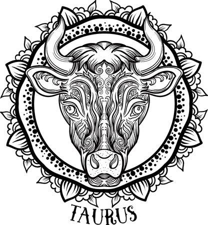 Stier van de dierenriem. tribal, decoratieve wollen patroon. Vector